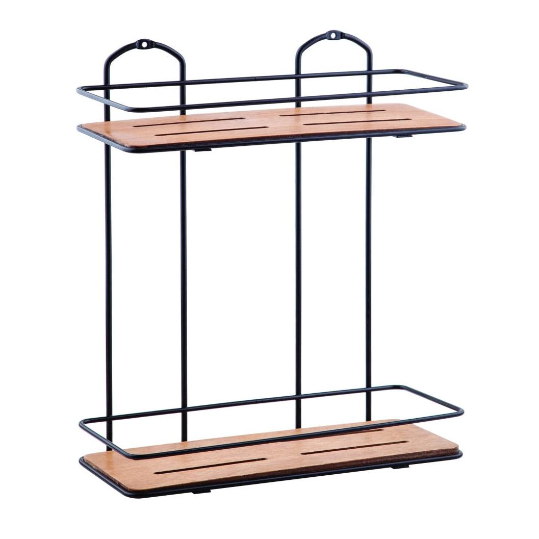 Двухэтажная деревянная Полка Teknotel для ванной комнаты / цвет черная