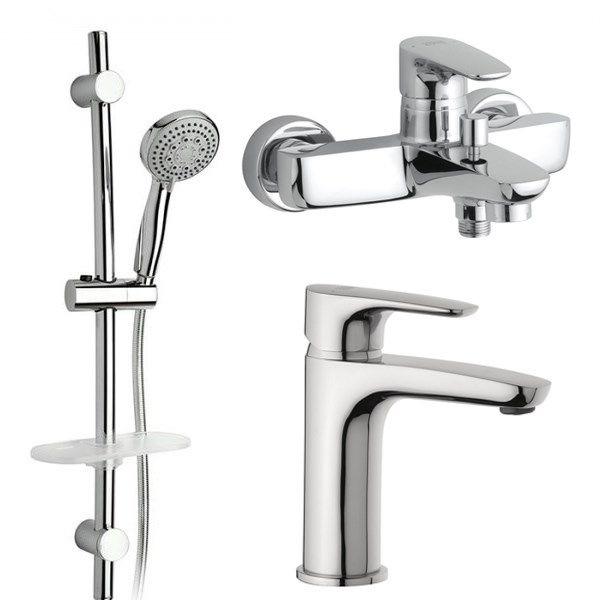 Комплект для раковины и ванны с душевой стойкой Paini Parellel 47CRKIT3 - 3 в 1 термостат для ванны paini lady 89op105thkm