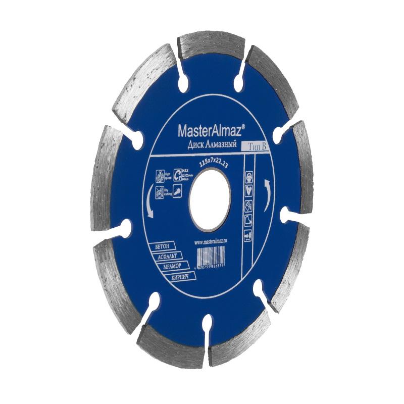 Фото - Диск алмазный МастерАлмаз standard (Тип В) 115х7х22 23 по бетону сегментный диск алмазный мастералмаз standard тип в 180х5х22 23 по камню сплошной