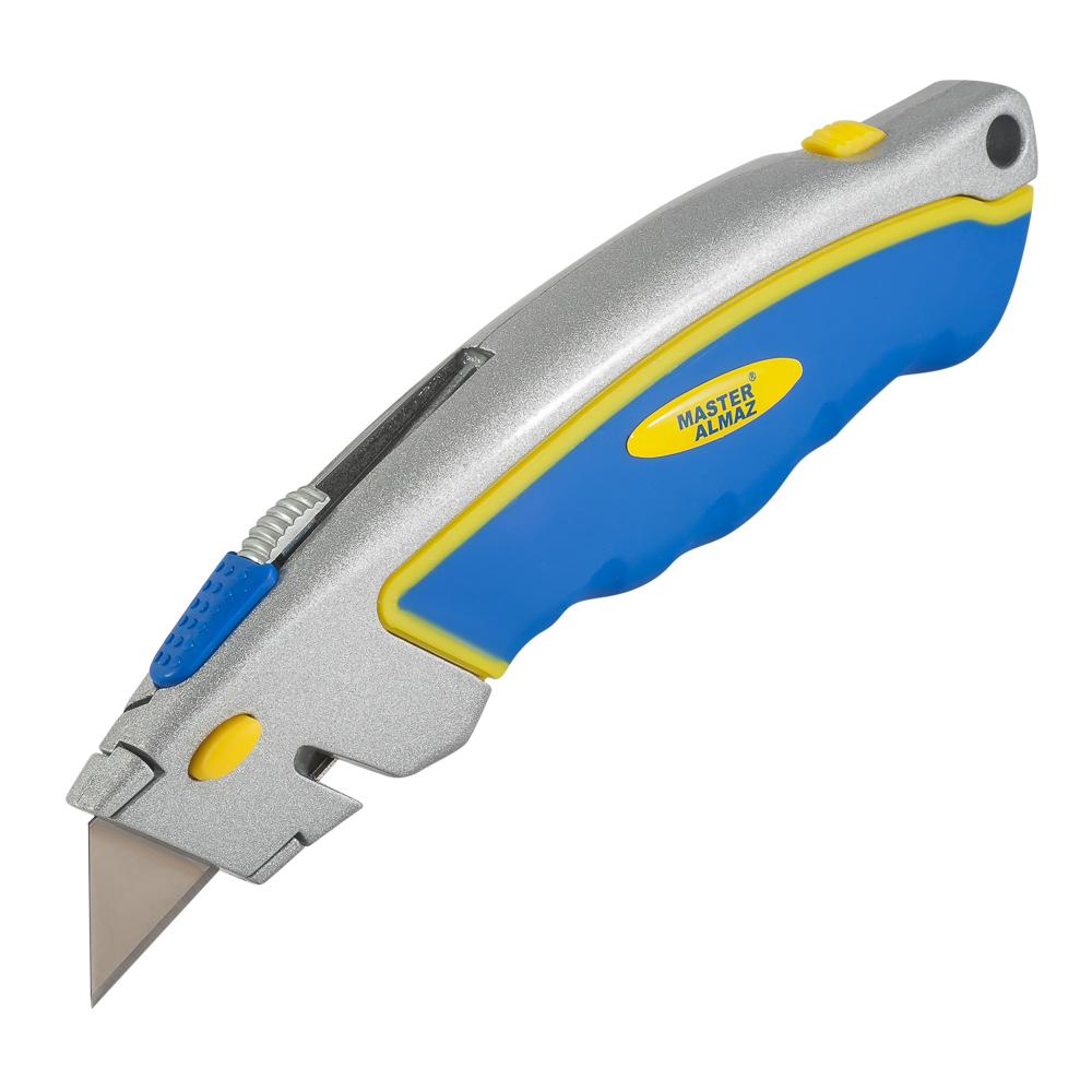 Фото - Нож строительный МастерАлмаз трапециевидное для электрика 19 мм + 5 лезвий нож мастералмаз для триммера 3 лезвия 230х25 4х1 4 мм 10505251