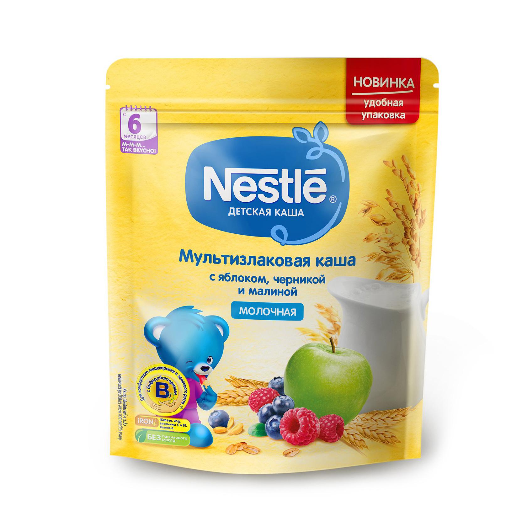 Фото - Каша молочная Nestle мультизлаковая яблоко-черника-малина с 6-ти месяцев 220 г органическое детское питание 2 й этап 6 месяцев яблоко голубика и овес 4 0 унции 113 г