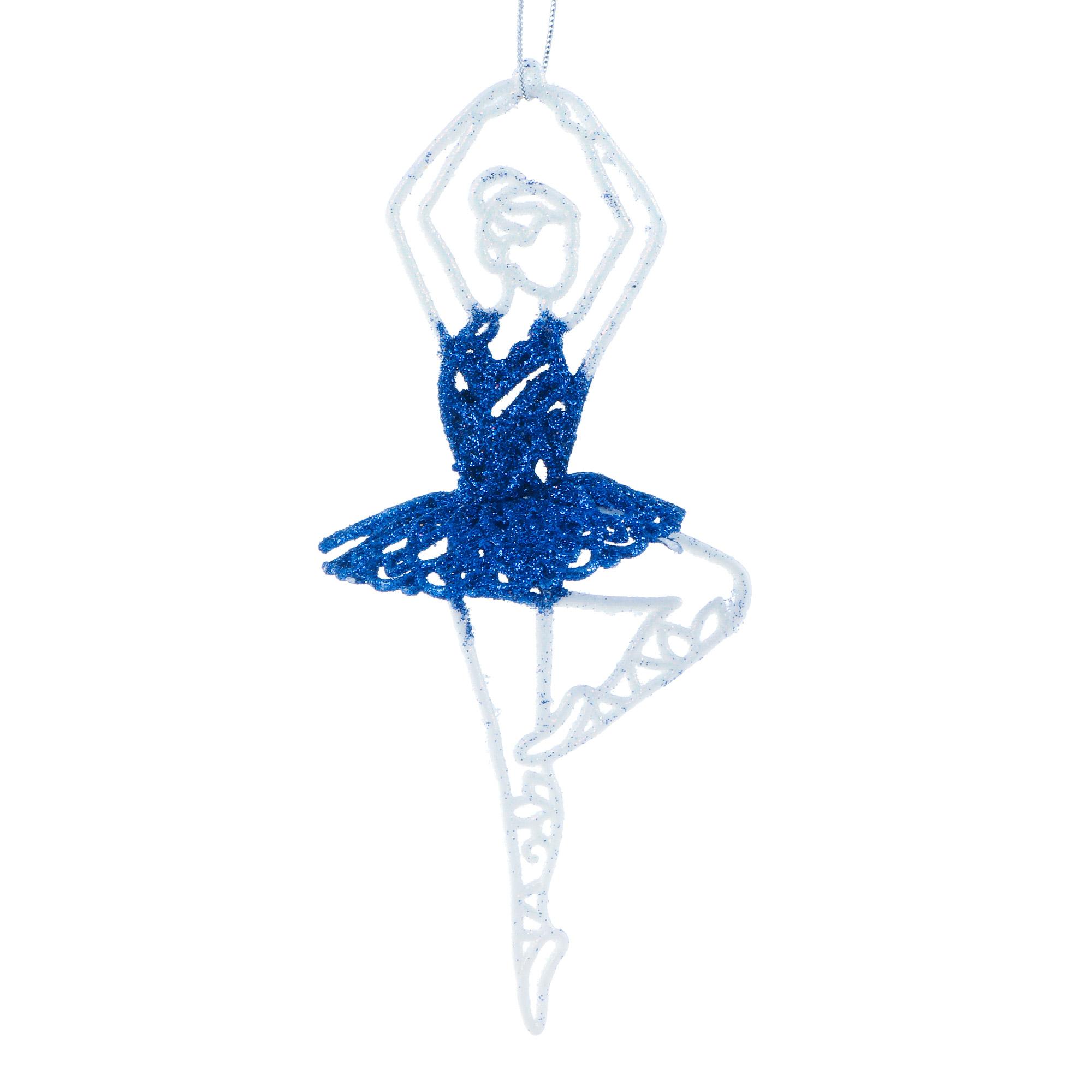 Украшение Weiste балерина 15 cм сине-белая