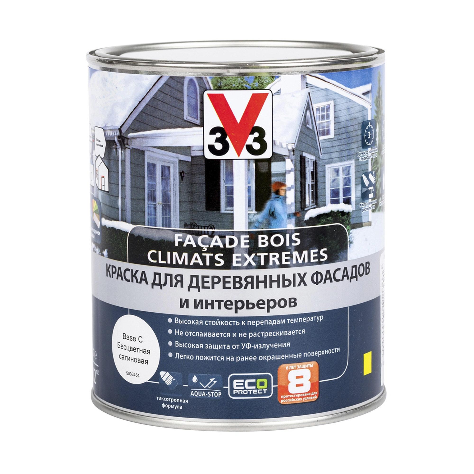 Краска V33 Facade Bois Climats Extremes для деревянных фасадов и интерьеров База С 1 л
