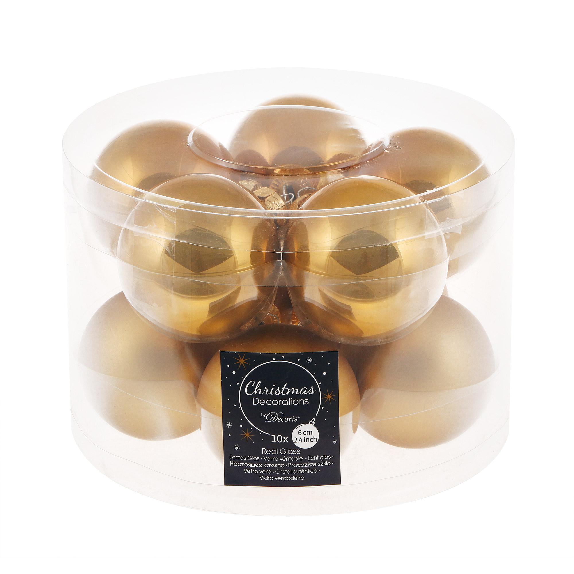 Набор шаров в тубе Kaemingk 6см 10шт золотое стекло
