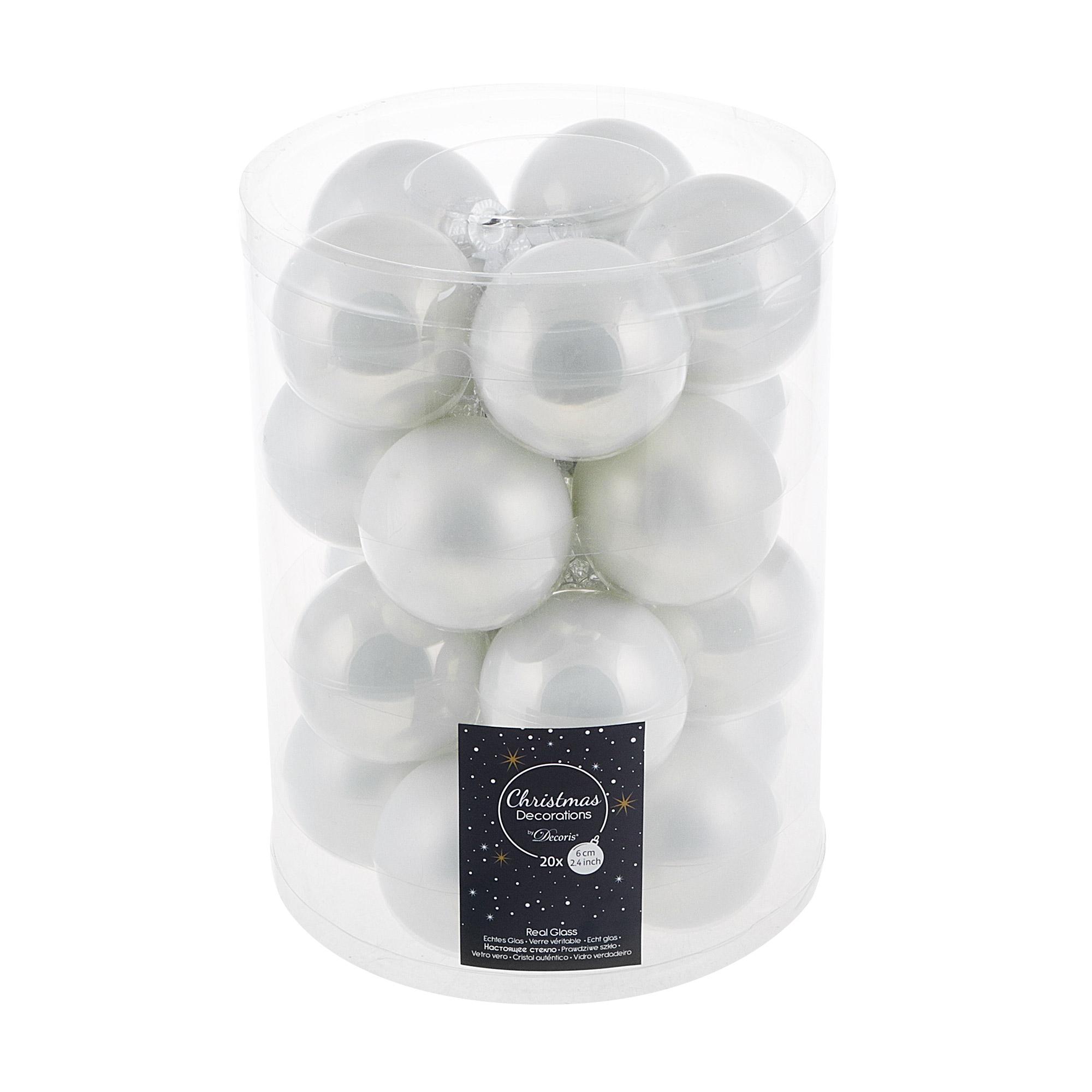Набор шаров на елку Kaemingk 6см 20шт белые набор шаров snowmen 32шт шар 6см х 20шт сосулька 15см х 4см мишура 270см х 2шт подарок 5 5см х 6шт