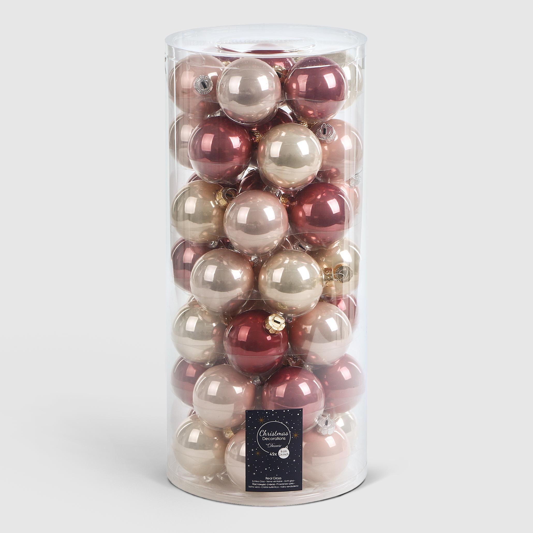 Набор шаров в тубе Kaemingk 6см 49шт в ассортименте стекло набор шаров в тубе kaemingk 6см 10шт бордо стекло