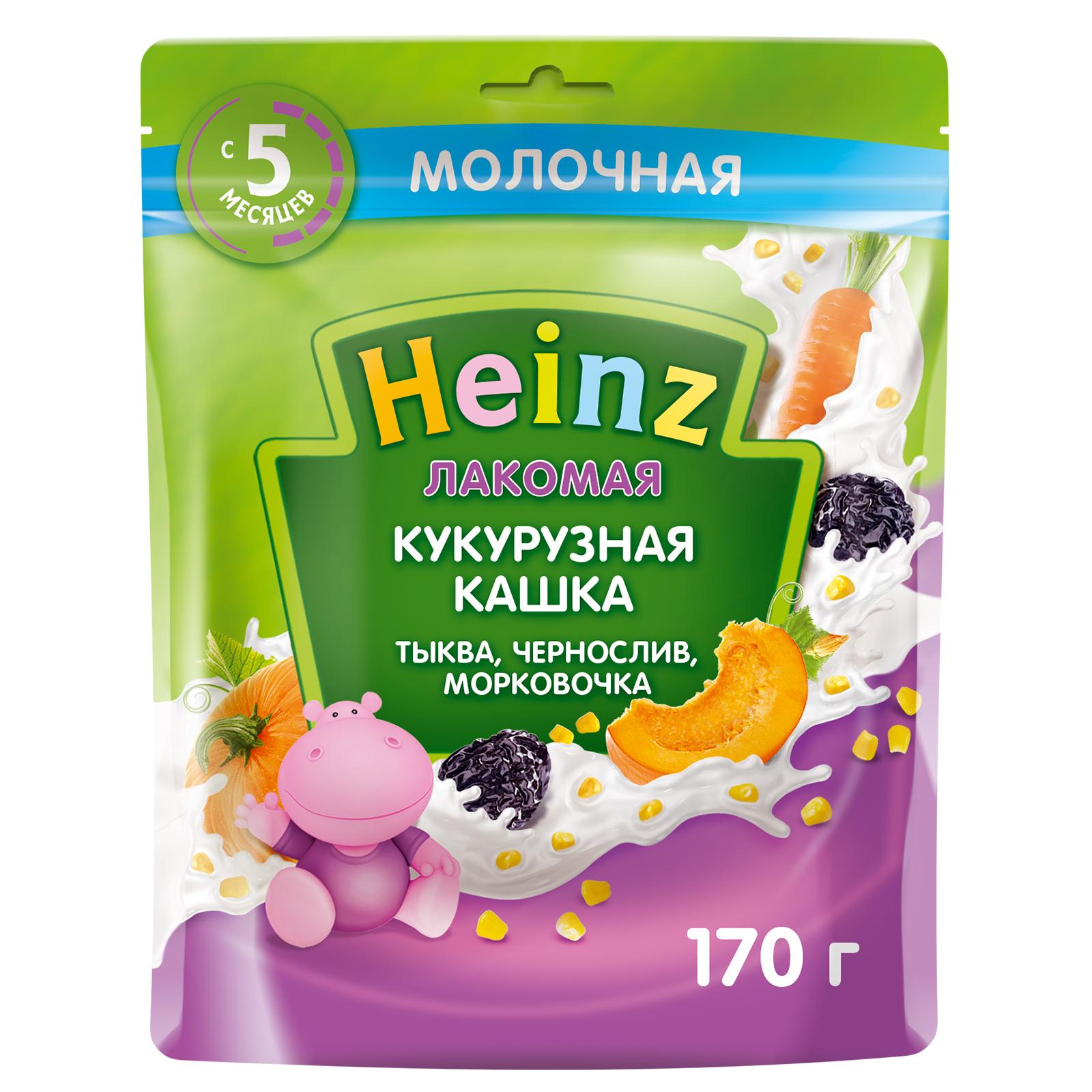 Каша Heinz Лакомая кукурузная Тыква чернослив морковь с 5 месяцев 170 г.