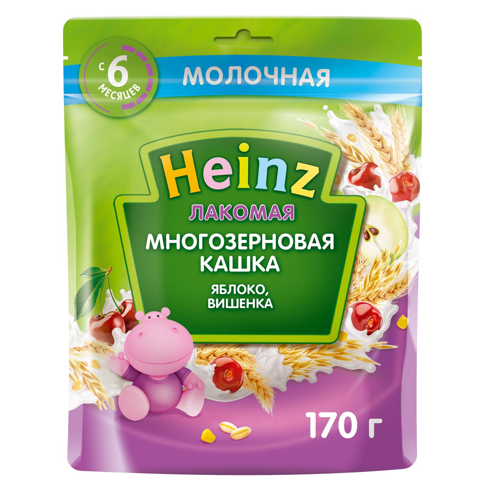 Каша Heinz Лакомая многозерновая Яблоко вишенка с 6 месяцев 170 г.