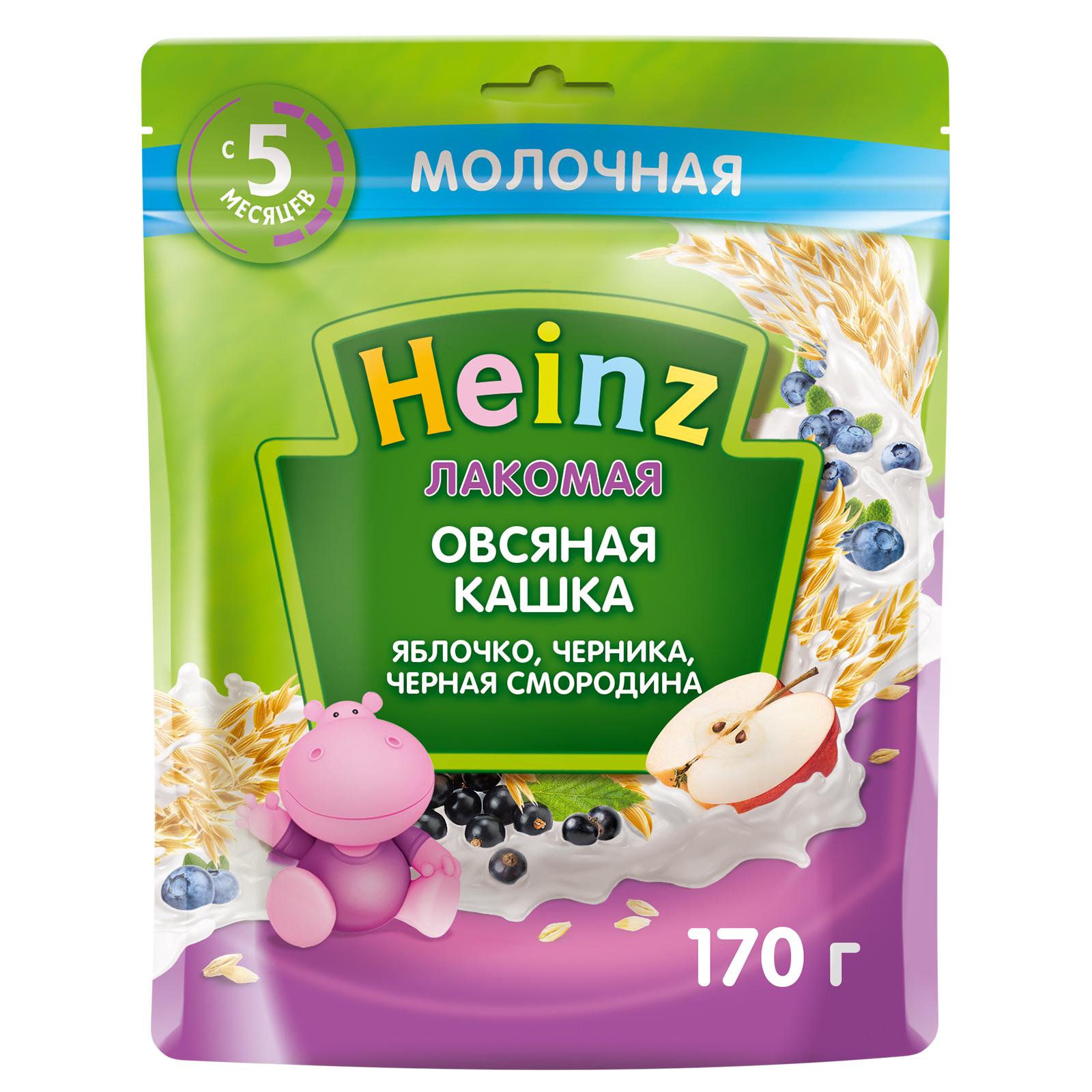 Каша Heinz Лакомая овсяная Яблоко черника черная смородина с 5 месяцев 170 г.