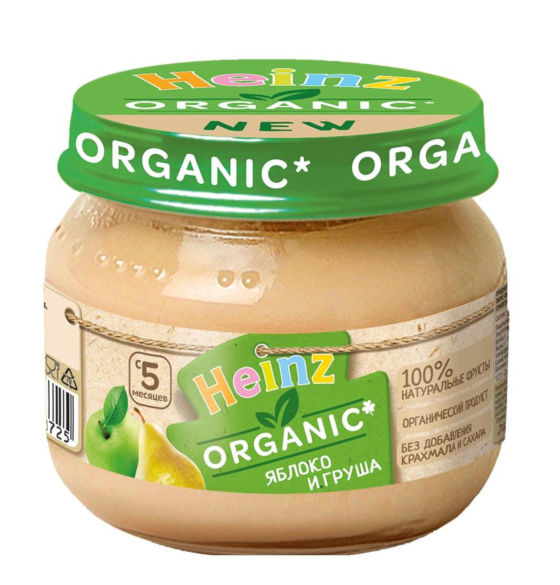 Пюре Heinz органик яблоко и груша 80г, с 5 месяцев