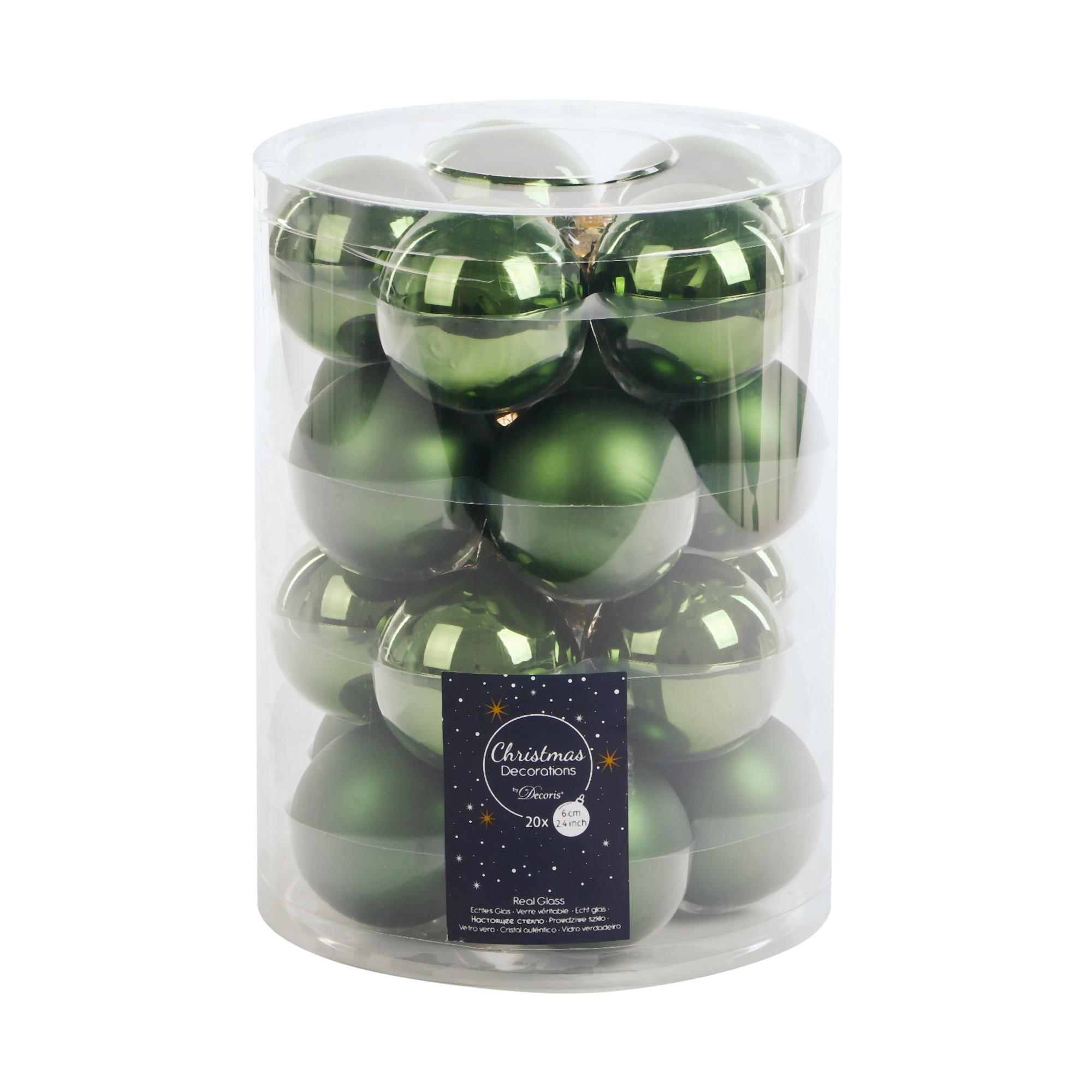 Набор шаров на елку Kaemingk 6см 20шт зеленые