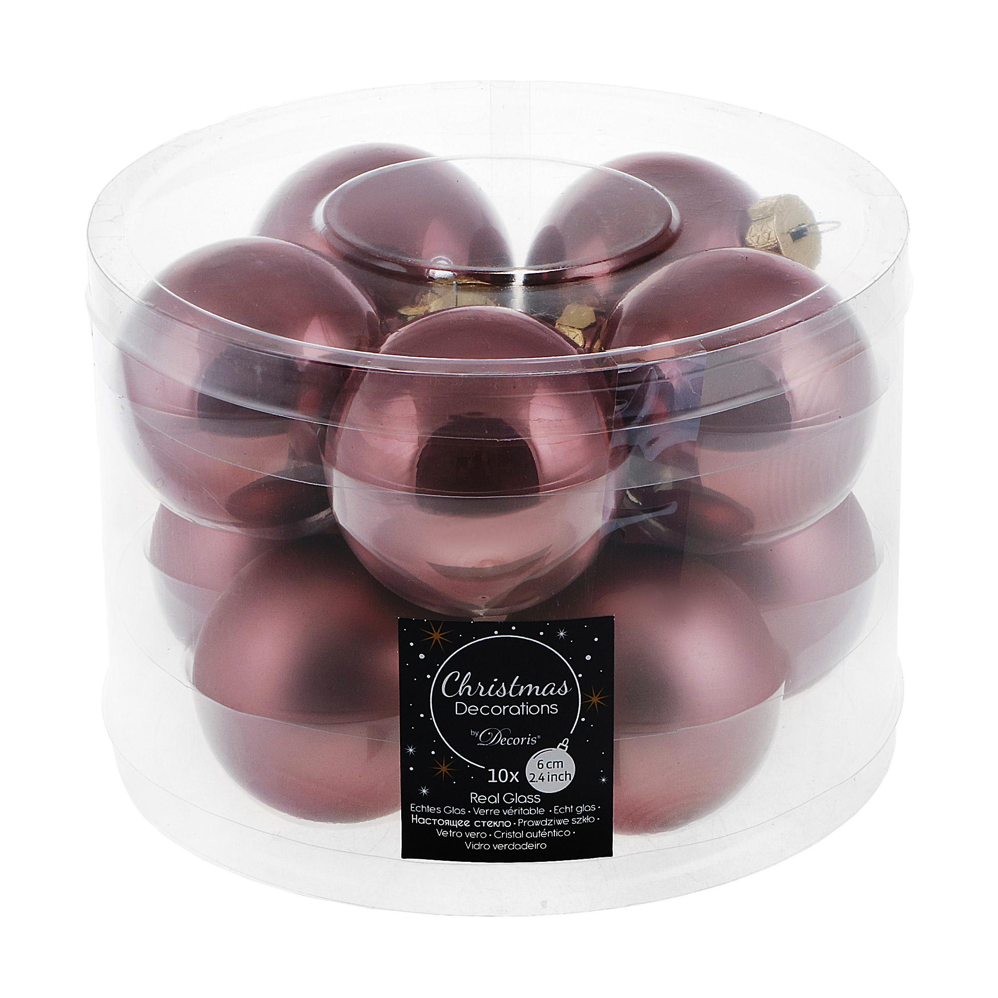 Набор шаров в тубе Kaemingk 6см 10шт розовое стекло набор шаров в тубе kaemingk 6см 10шт бордо стекло