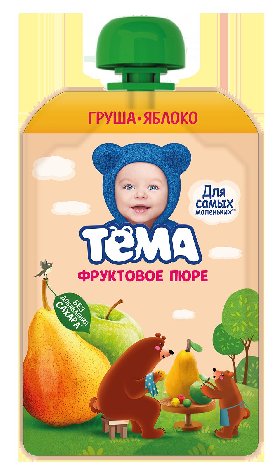 Фото - Тема Фруктовое пюре Груша Яблоко 90 г пюре heinz яблоко груша кабачок 90 г