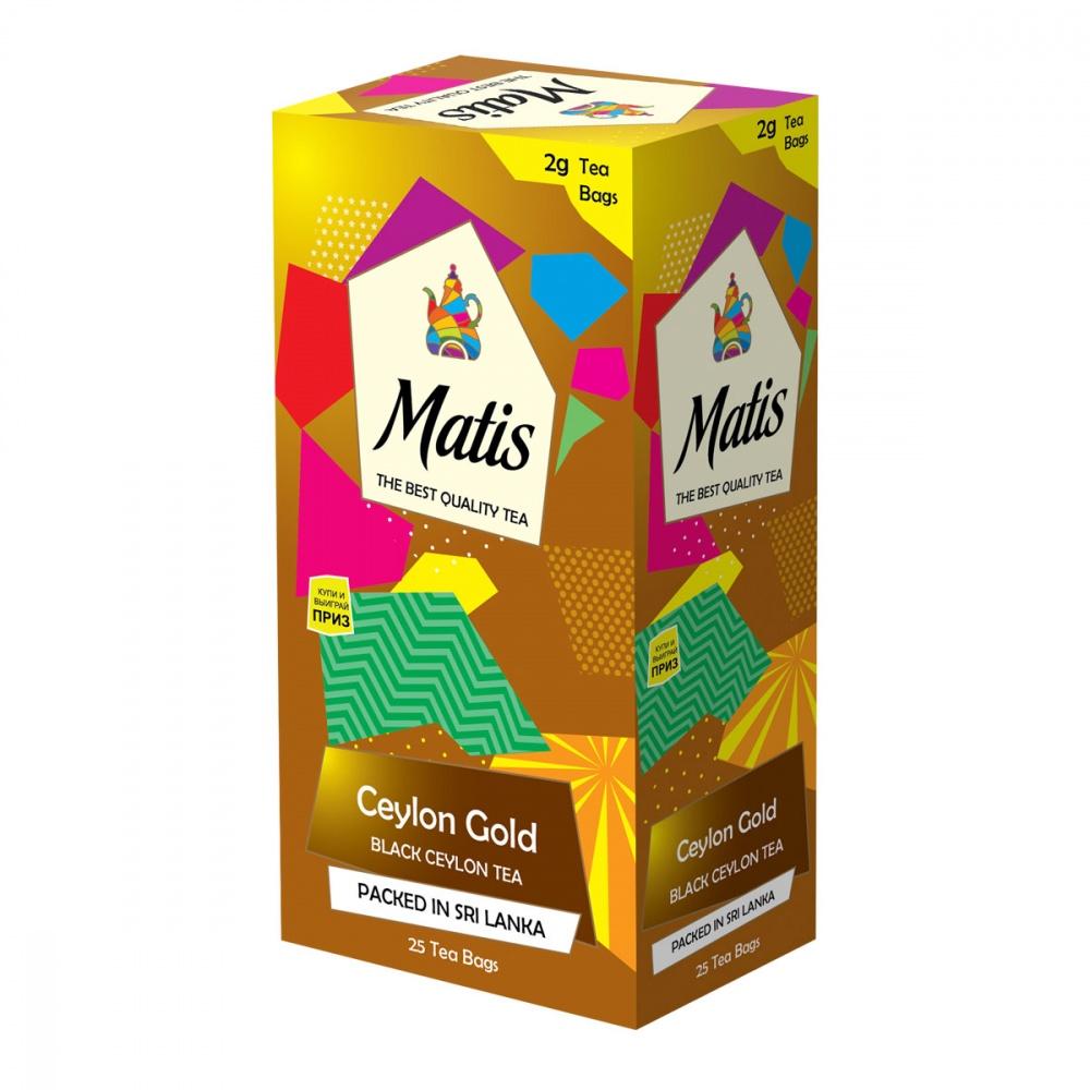 Чай черный Matis Золото Цейлона 25х2 г недорого