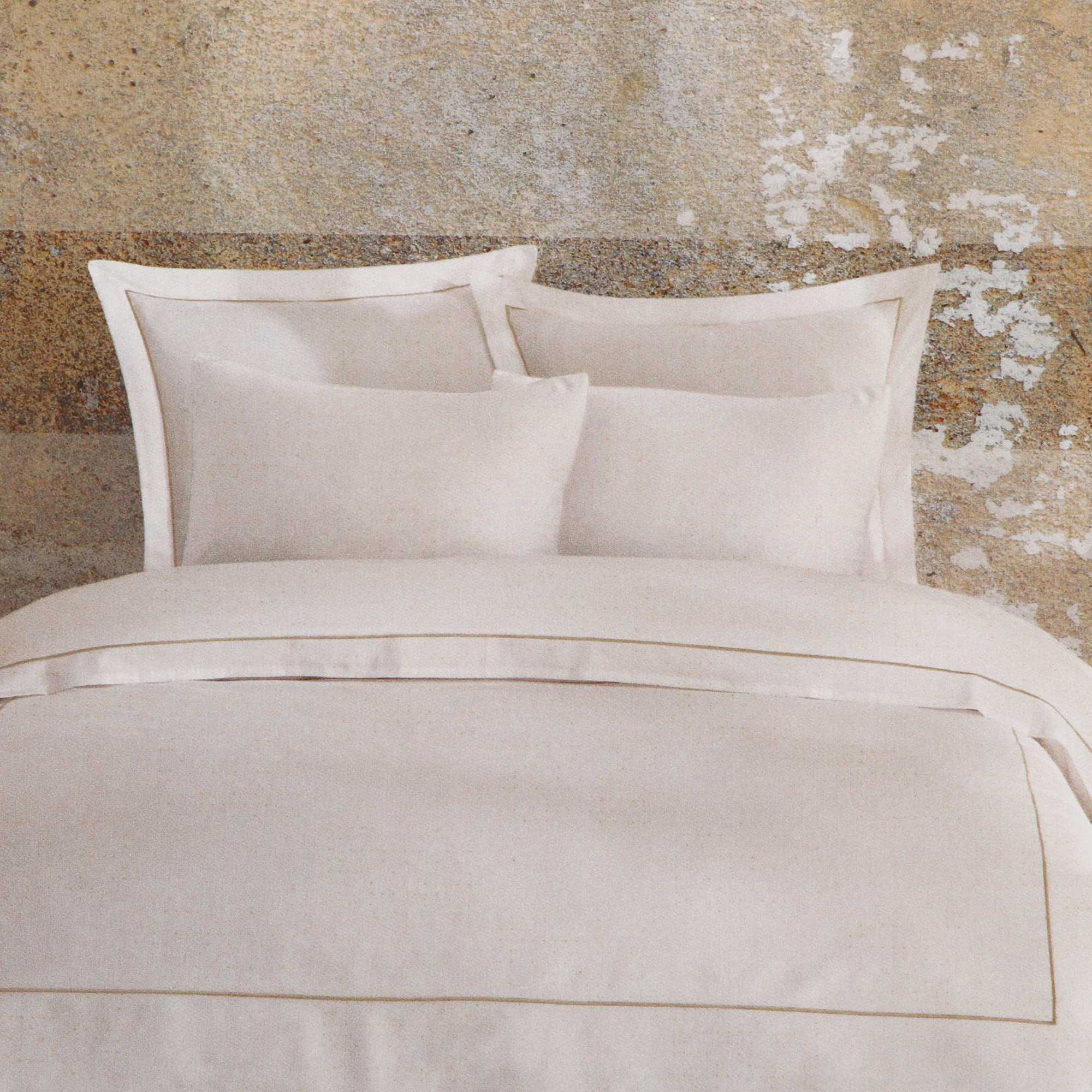 Постельный комплект Bella casa 1.5сп white / golden olive stripes
