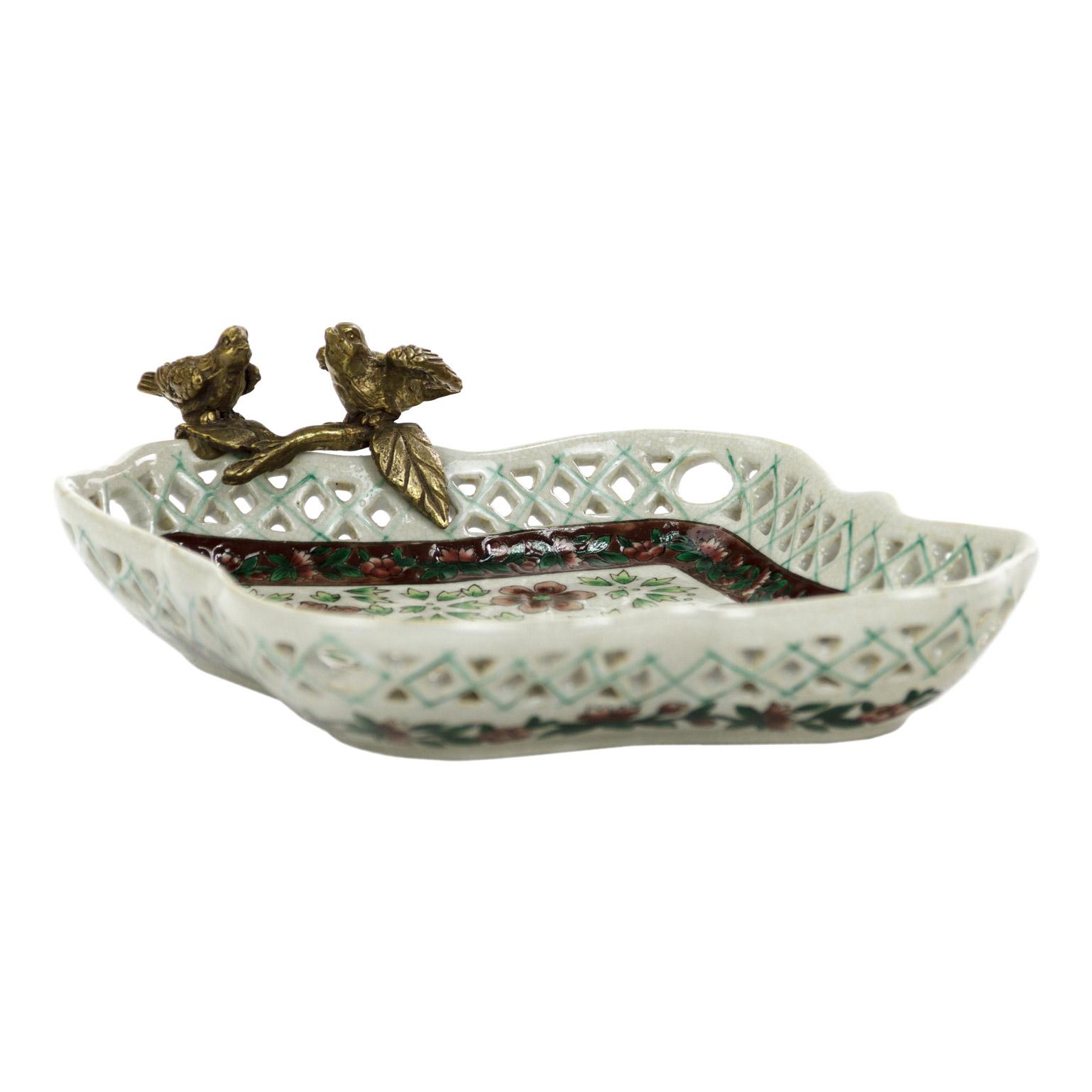Блюдо Glasar фарфоровое с бронзовыми птичками 21,5x19x6см