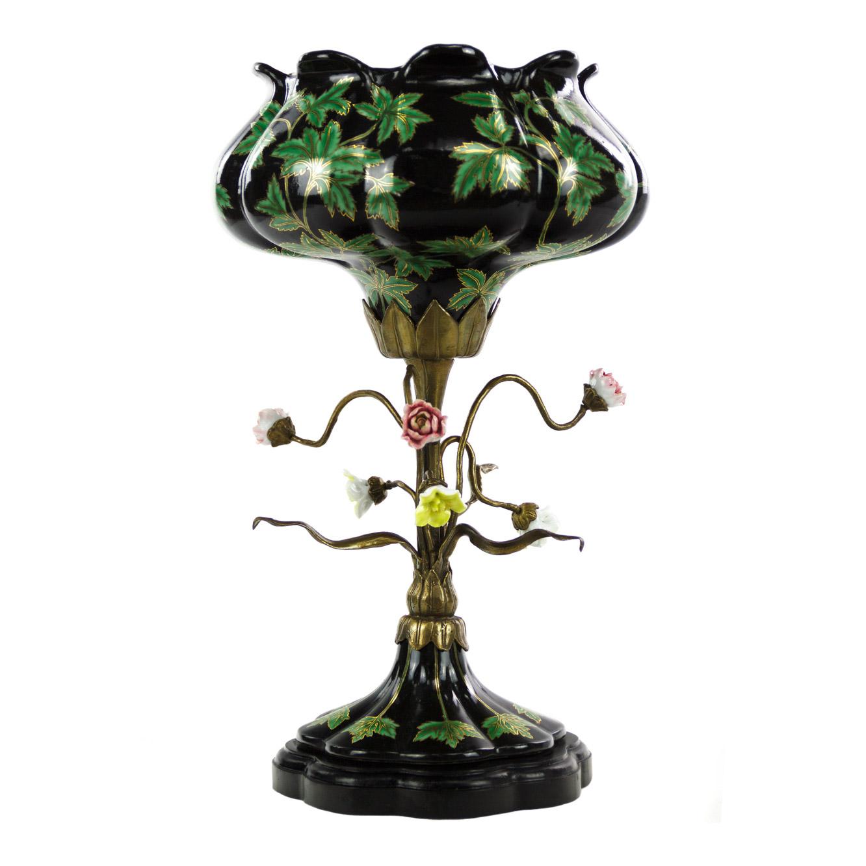Чаша Glasar фарфоровая с бронзой 43,18см фото