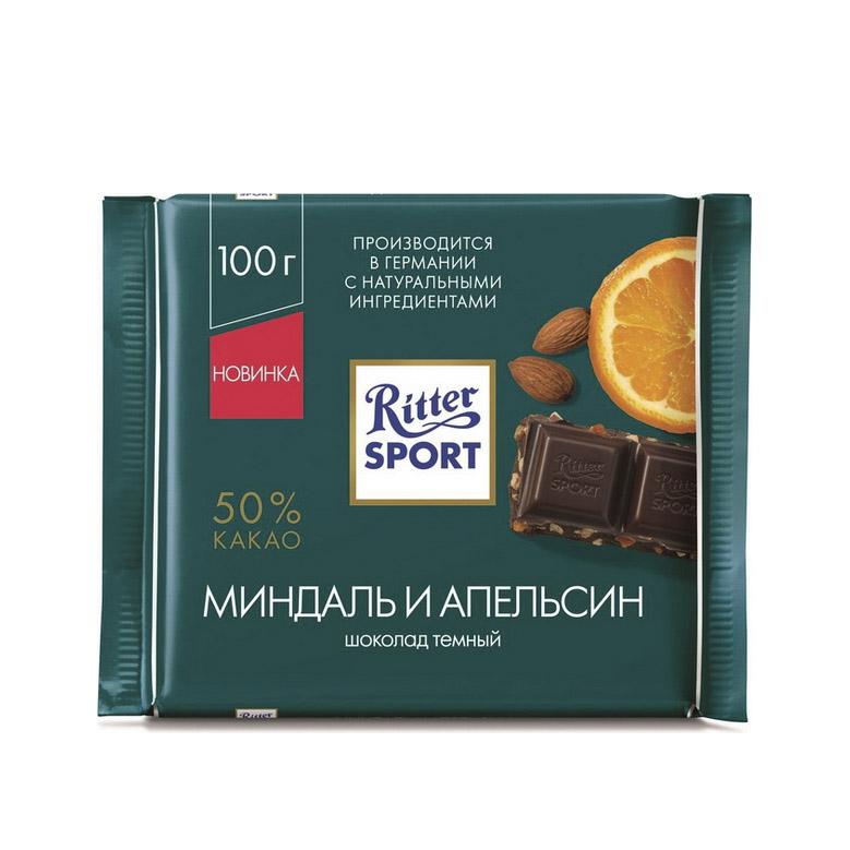 Фото - Шоколад Ritter Sport Темный с миндалем и апельсином 100 г шоколад ritter sport молочный карамельный мусс с миндалем 100 г
