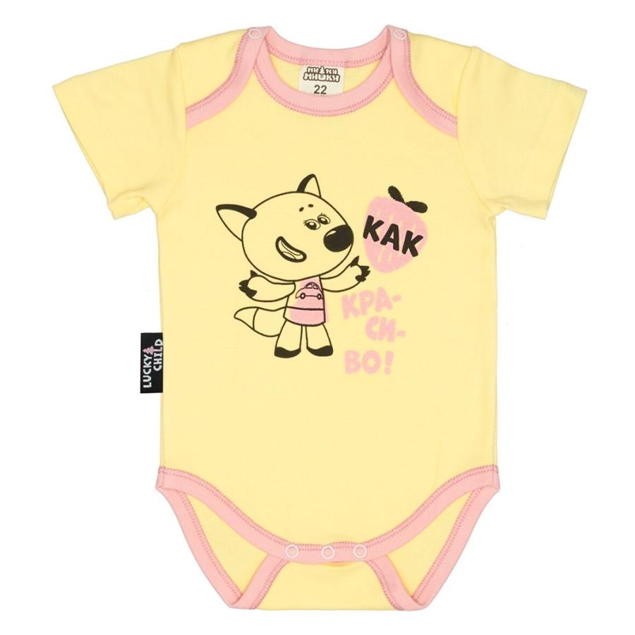 Фото - Боди Lucky Child МИ-МИ-МИШКИ желтый 68-74 футболка для мальчика lucky child ми ми мишки цветная 68 74