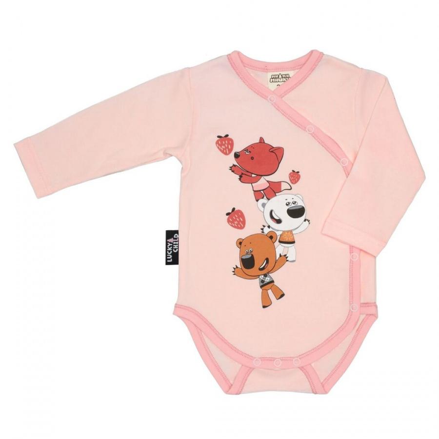 Боди Lucky Child МИ-МИ-МИШКИ с длинным рукавом розовый 56-62 фото