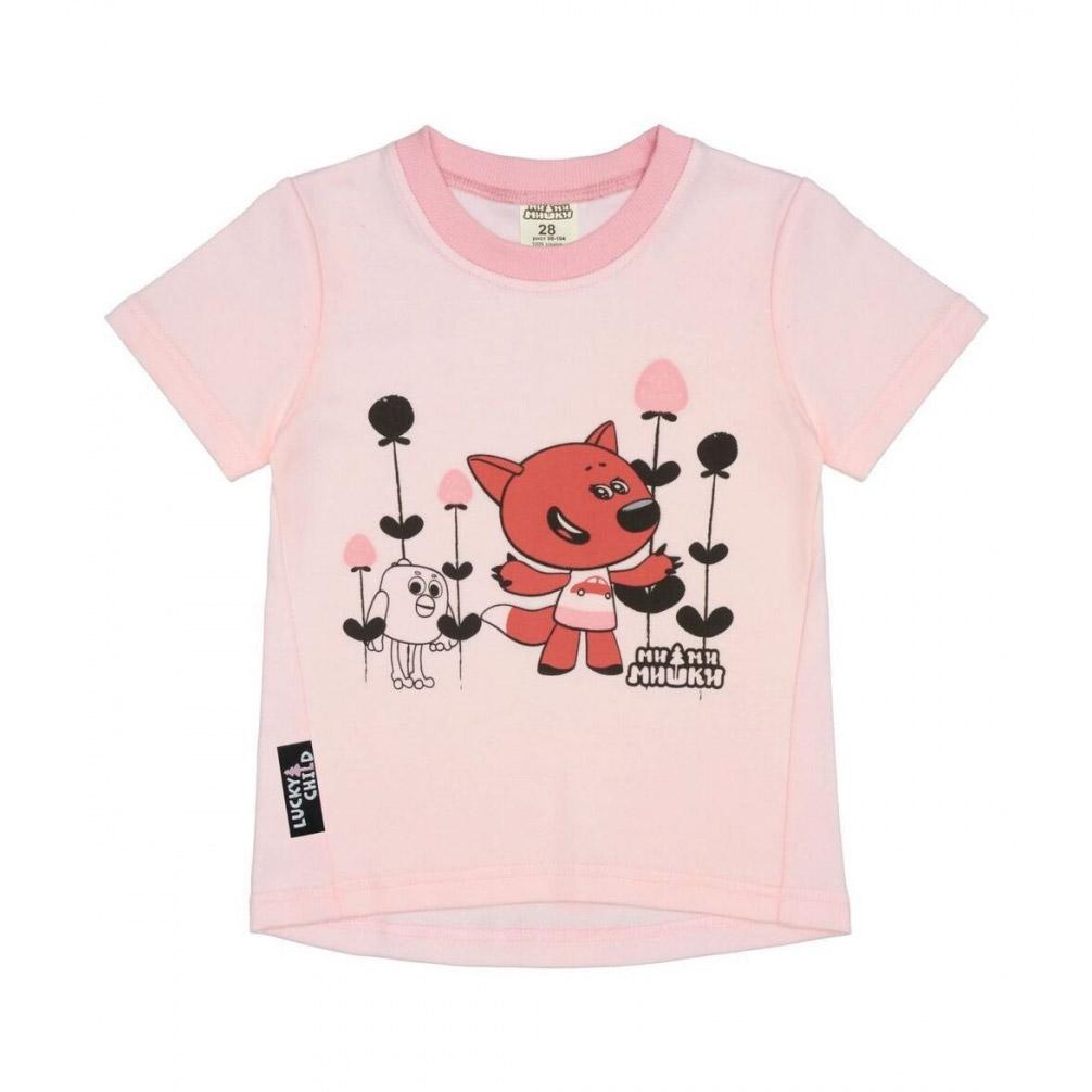 Футболка Lucky Child МИ-МИ-МИШКИ светло-розовая 74-80 фото