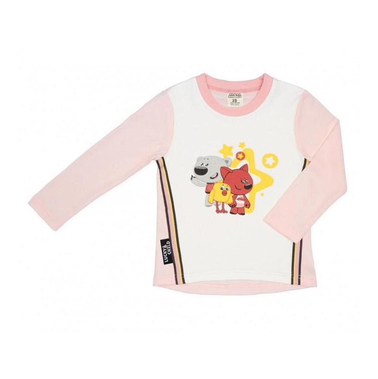 Купить Лонгслив Lucky Child с длинным рукавом МИ-МИ-МИШКИ светло-розовый 86-92, Светло-розовый, Интерлок, Для девочек, Всесезонный,