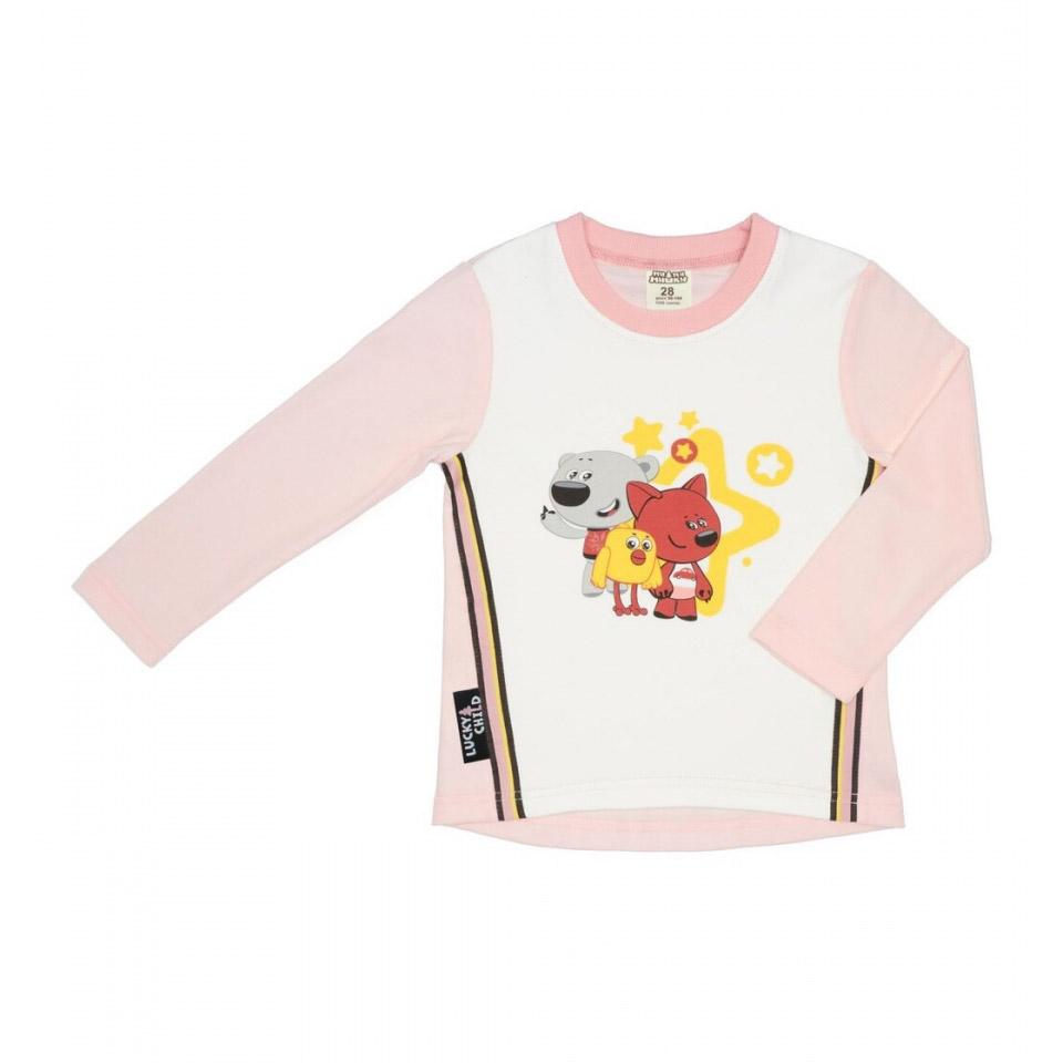 Купить Лонгслив Lucky Child с длинным рукавом МИ-МИ-МИШКИ светло-розовый 92-98, Розовый, Интерлок, Для девочек, Всесезонный,