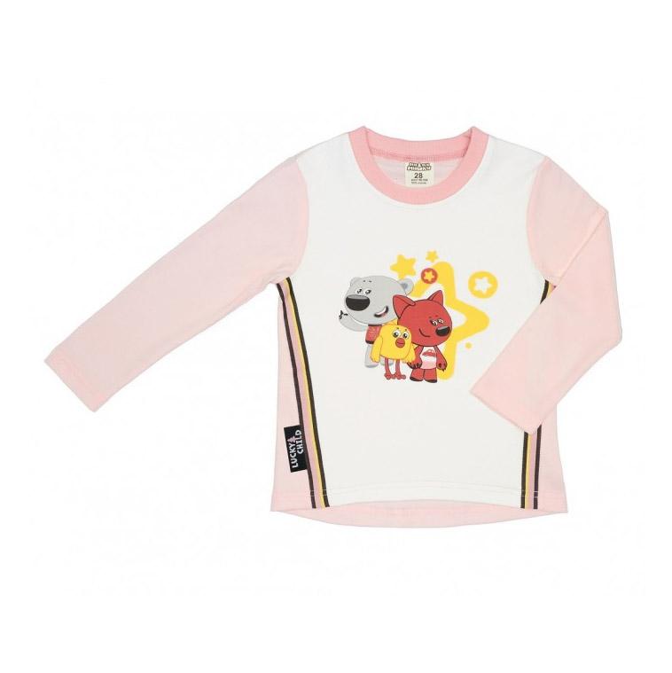 Купить Лонгслив Lucky Child с длинным рукавом МИ-МИ-МИШКИ светло-розовый 98-104, Светло-розовый, Интерлок, Для девочек, Всесезонный,