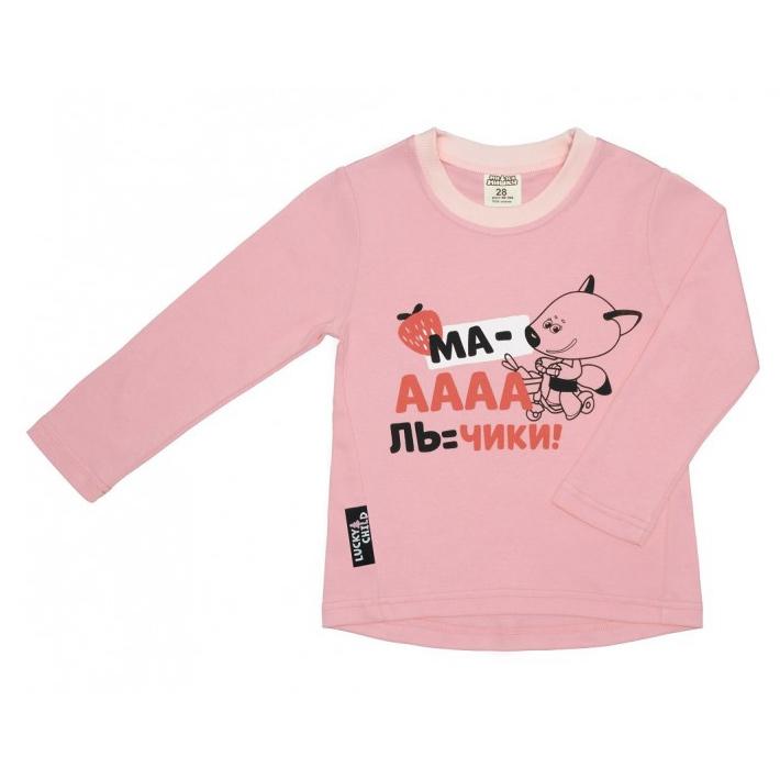 Купить Лонгслив Lucky Child с длинным рукавом МИ-МИ-МИШКИ розовый 86-92, Розовый, Интерлок, Для девочек, Всесезонный,