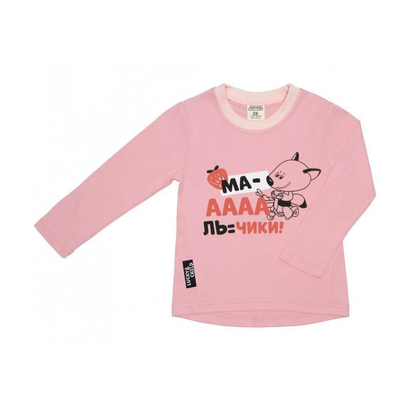 Купить Лонгслив Lucky Child с длинным рукавом МИ-МИ-МИШКИ розовый 92-98, Розовый, Интерлок, Для девочек, Всесезонный,
