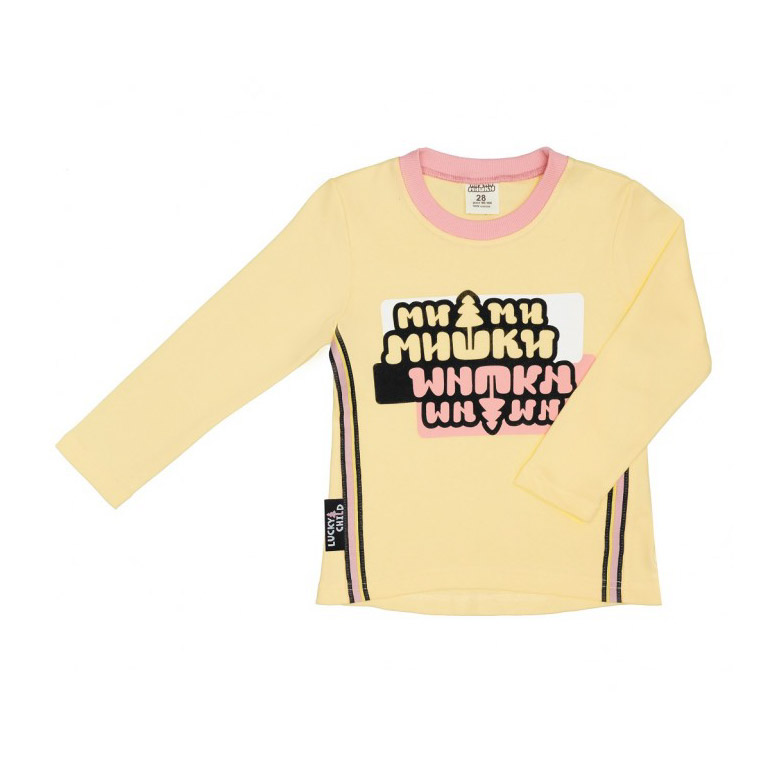 Купить Лонгслив Lucky Child с длинным рукавом МИ-МИ-МИШКИ желтый 104-110, Желтый, Интерлок, Для девочек, Всесезонный,
