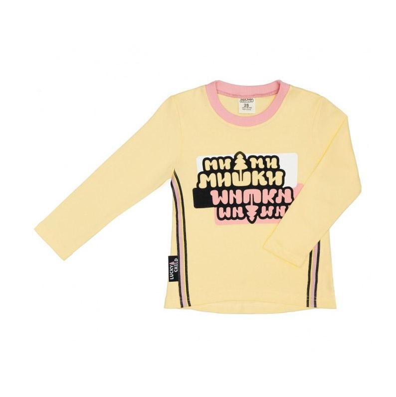Купить Лонгслив Lucky Child с длинным рукавом МИ-МИ-МИШКИ желтый 128-134, Желтый, Интерлок, Для девочек, Всесезонный,