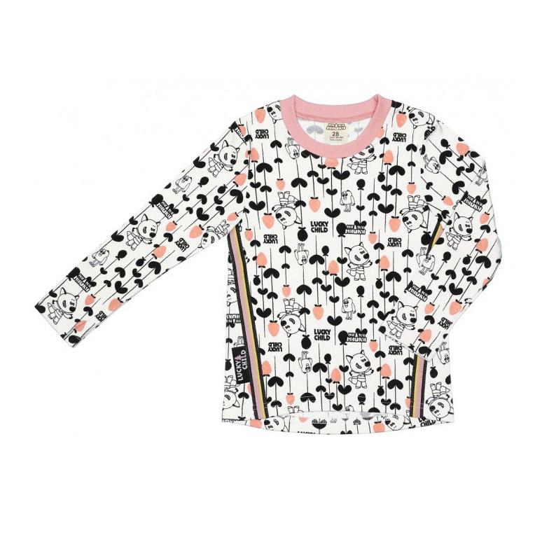 Купить Лонгслив Lucky Child с длинным рукавом МИ-МИ-МИШКИ цветной 128-134, Разноцветный, Интерлок, Для девочек, Всесезонный,