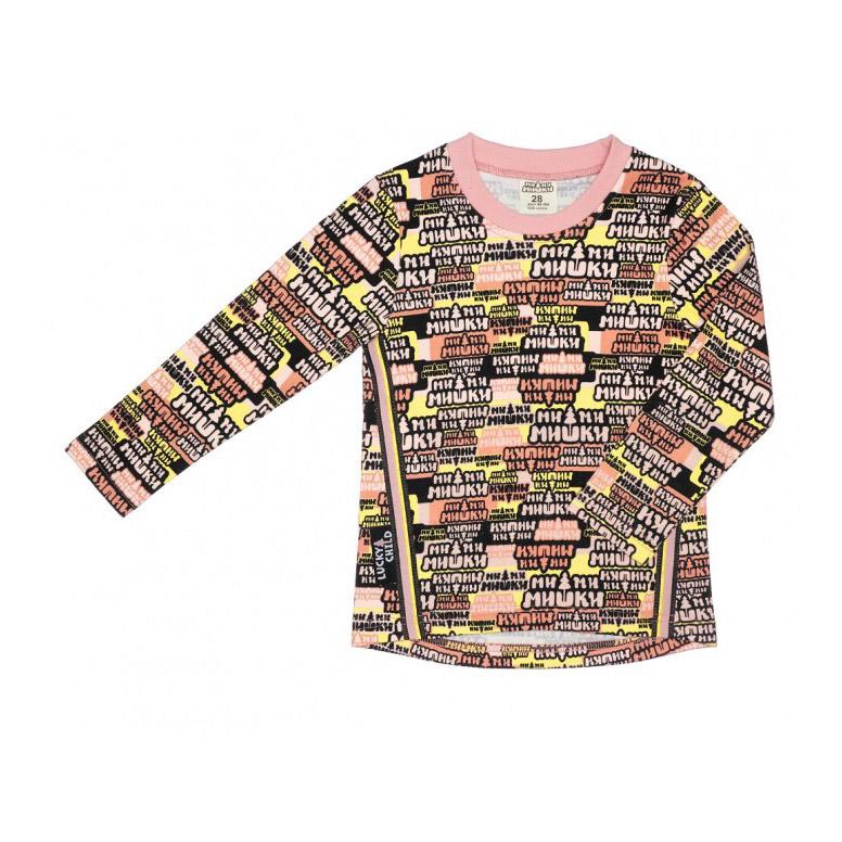 Купить Лонгслив Lucky Child с длинным рукавом МИ-МИ-МИШКИ разноцветный 104-110, Разноцветный, Интерлок, Для девочек, Всесезонный,