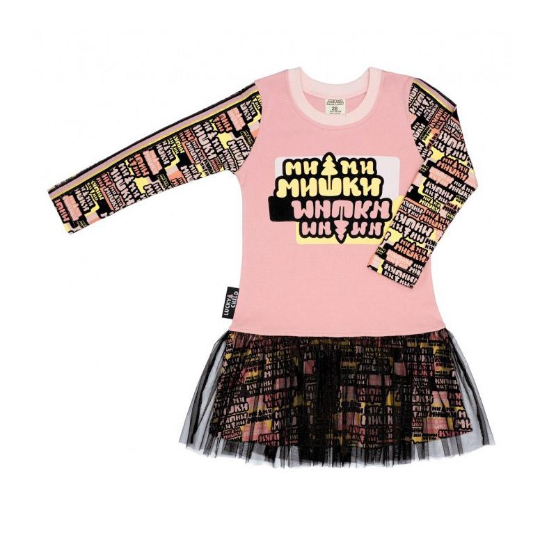 Купить Платье Lucky Child МИ-МИ-МИШКИ с маленькой юбкой 104-110, Черно-Розовый, Интерлок, Для девочек, Осень-Зима,