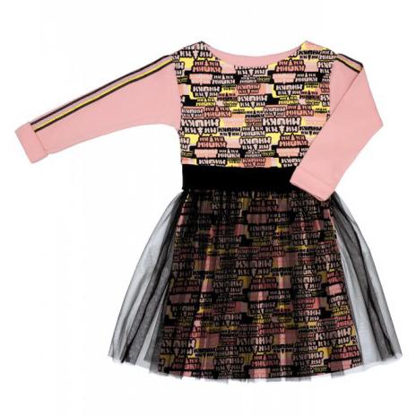Купить Платье Lucky Child МИ-МИ-МИШКИ с пышной юбкой 86-92, Розовый, Интерлок, Для девочек, Осень-Зима,