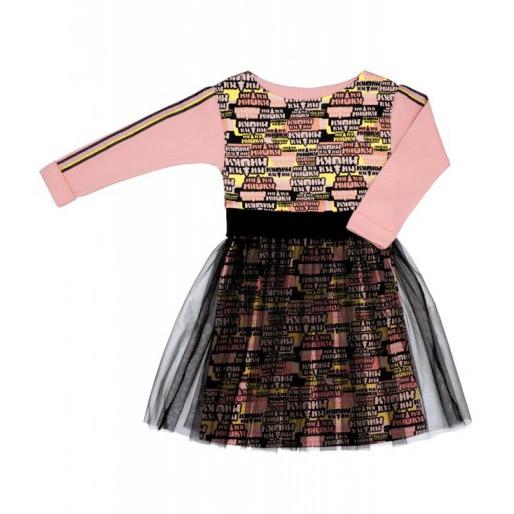 Платье Lucky Child МИ-МИ-МИШКИ с маленькой юбкой черно-розовое 104-110 платье с легкой прозрачной юбкой kitty