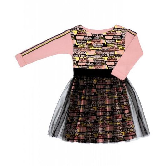 Платье Lucky Child МИ-МИ-МИШКИ с маленькой юбкой черно-розовое 128-134 платье с легкой прозрачной юбкой kitty