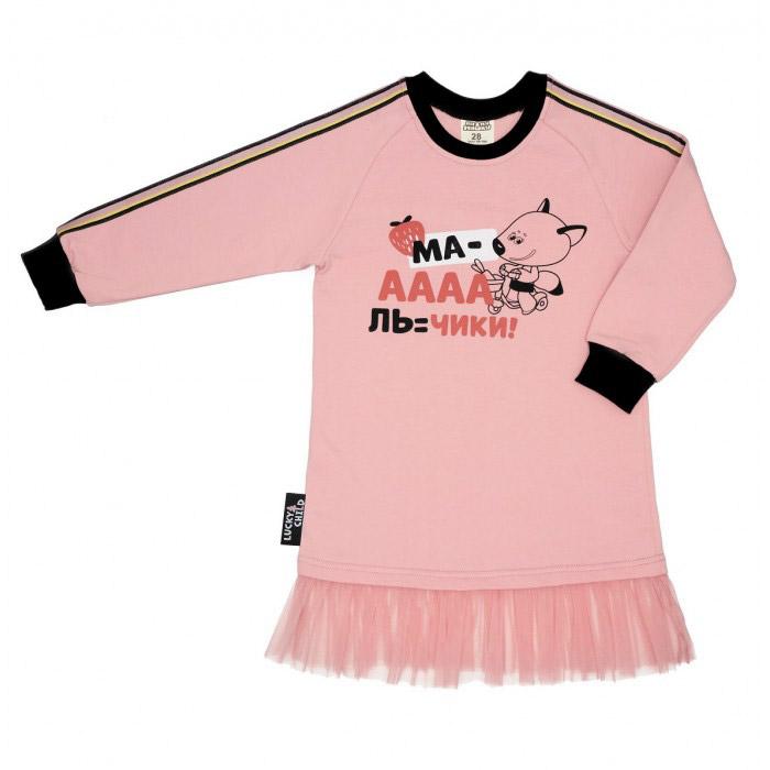 Купить Платье Lucky Child МИ-МИ-МИШКИ розовое 116-122, Розовый, Футер, Для девочек, Осень-Зима,