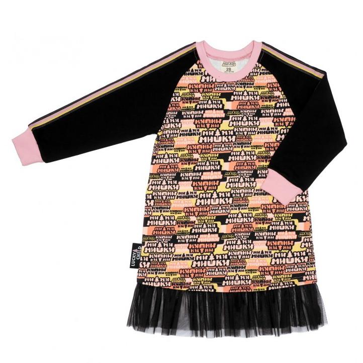 Купить Платье Lucky Child МИ-МИ-МИШКИ многоцветное 86-92, Разноцветный, Футер, Для девочек, Осень-Зима,