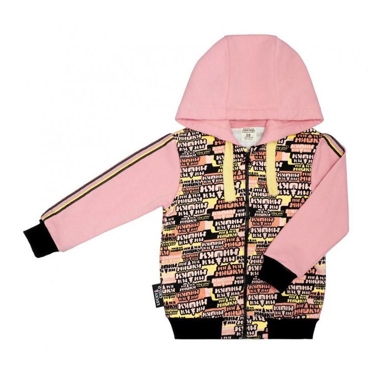 Купить Куртка Lucky Child на молнии МИ-МИ-МИШКИ 98-104, Розовый, Футер, Для девочек, Осень-Зима,