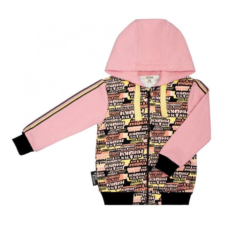 Купить Куртка Lucky Child на молнии МИ-МИ-МИШКИ 122-128, Розовый, Футер, Для девочек, Осень-Зима,