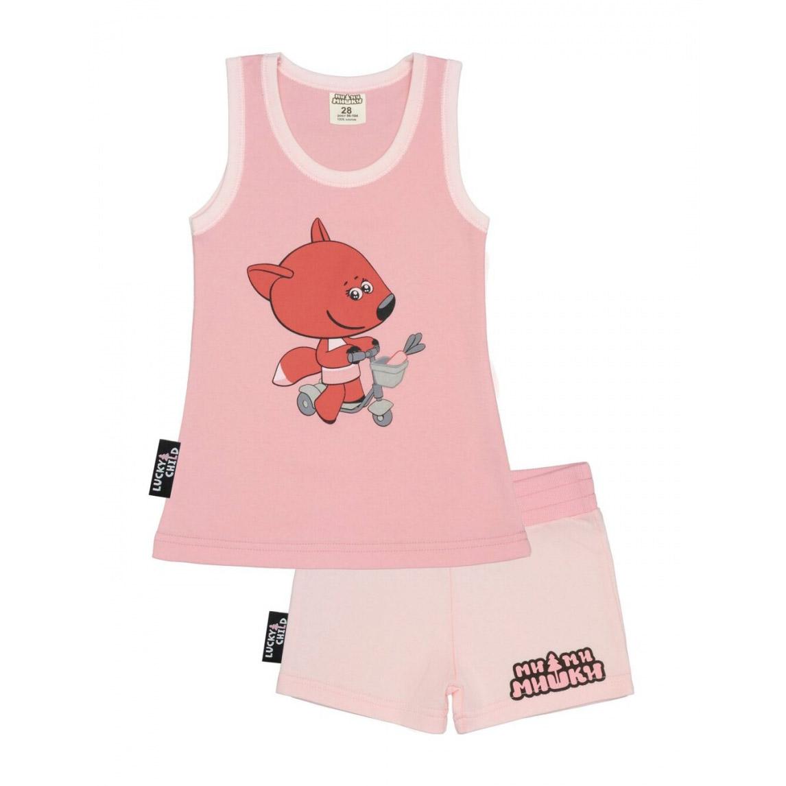 Купить Пижама с шортами Lucky Child МИ-МИ-МИШКИ розовая 122-128, Розовый, Интерлок, Для девочек, Всесезонный,