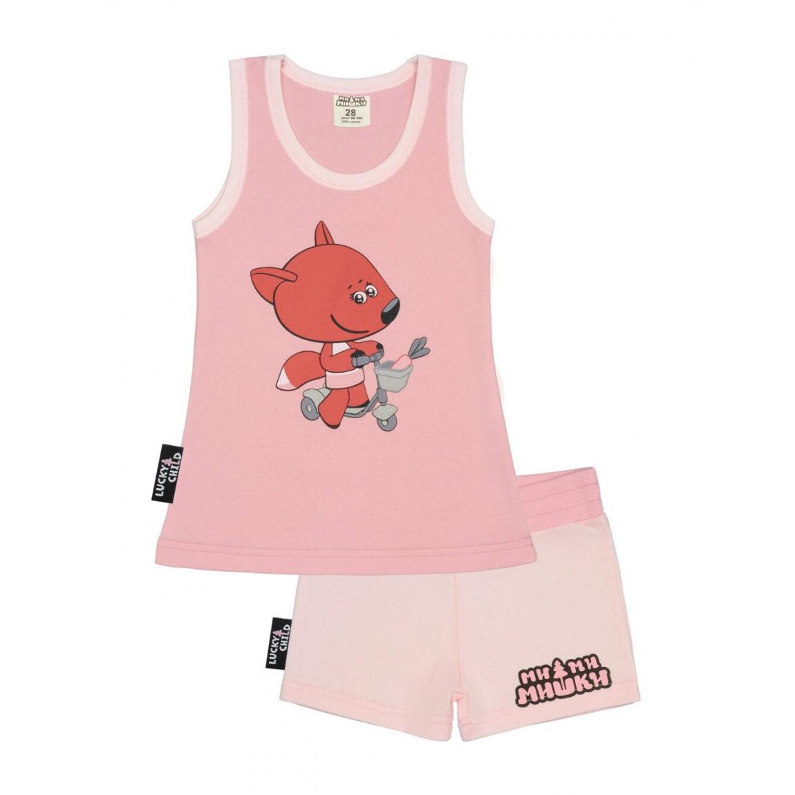 Купить Пижама с шортами Lucky Child МИ-МИ-МИШКИ розовая 128-134, Розовый, Интерлок, Для девочек, Всесезонный,