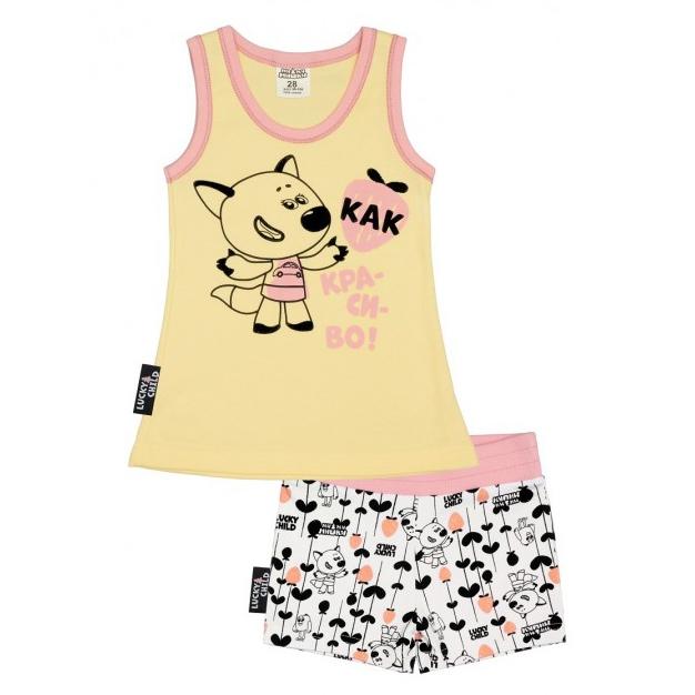 Пижама Lucky Child с шортами МИ-МИ-МИШКИ желтая 80-86 толстовка lucky child ми ми мишки 80 86
