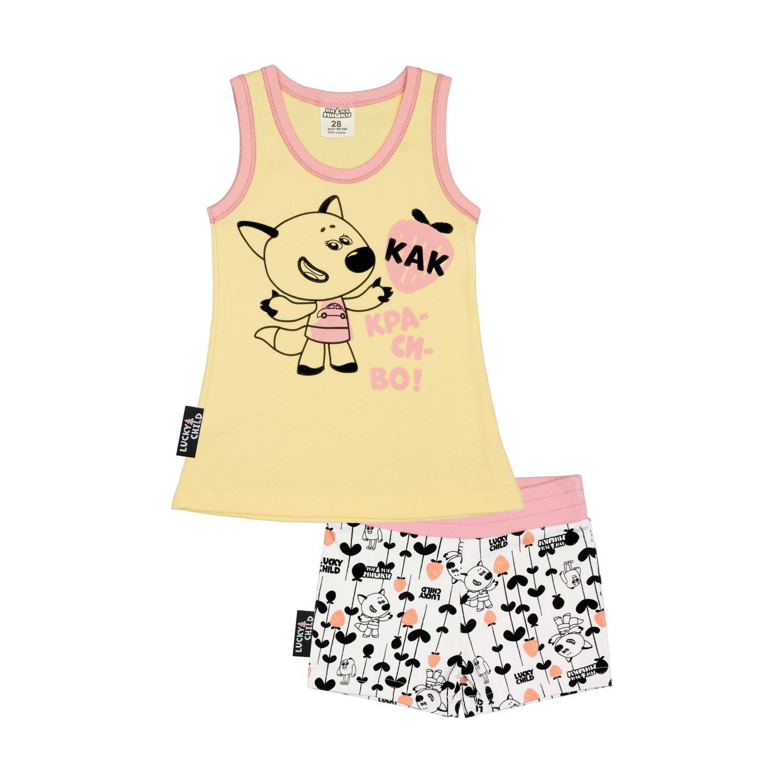 Фото - Пижама Lucky Child с шортами МИ-МИ-МИШКИ желтая 92-98 пижама lucky child размер 28 92 98 полосатый