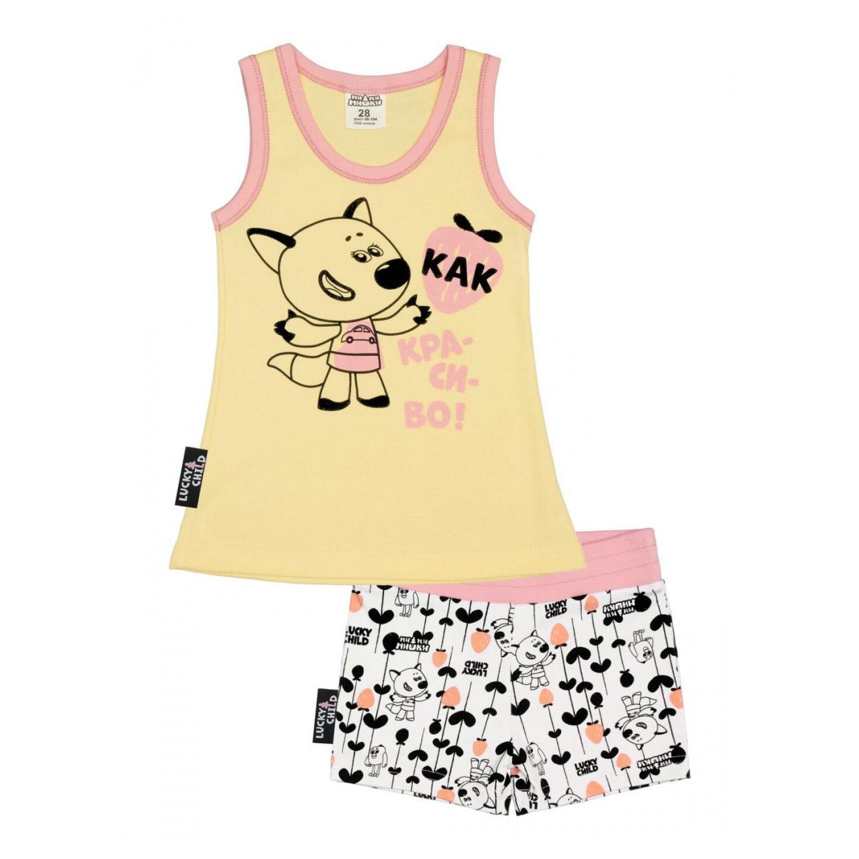 Купить Пижама с шортами Lucky Child МИ-МИ-МИШКИ желтая 122-128, Желтый, Интерлок, Для девочек, Всесезонный,