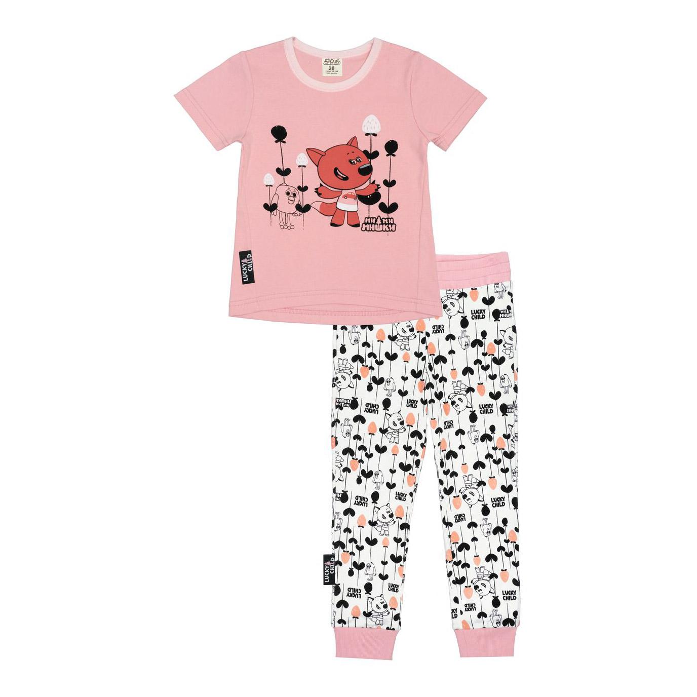 Купить Пижама с брюками Lucky Child МИ-МИ-МИШКИ розовая 128-134, Розовый, Интерлок, Для девочек, Всесезонный,