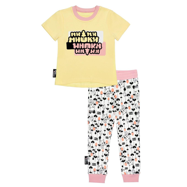 Пижама Lucky Child со штанами МИ-МИ-МИШКИ желтая 80-86 толстовка lucky child ми ми мишки 80 86