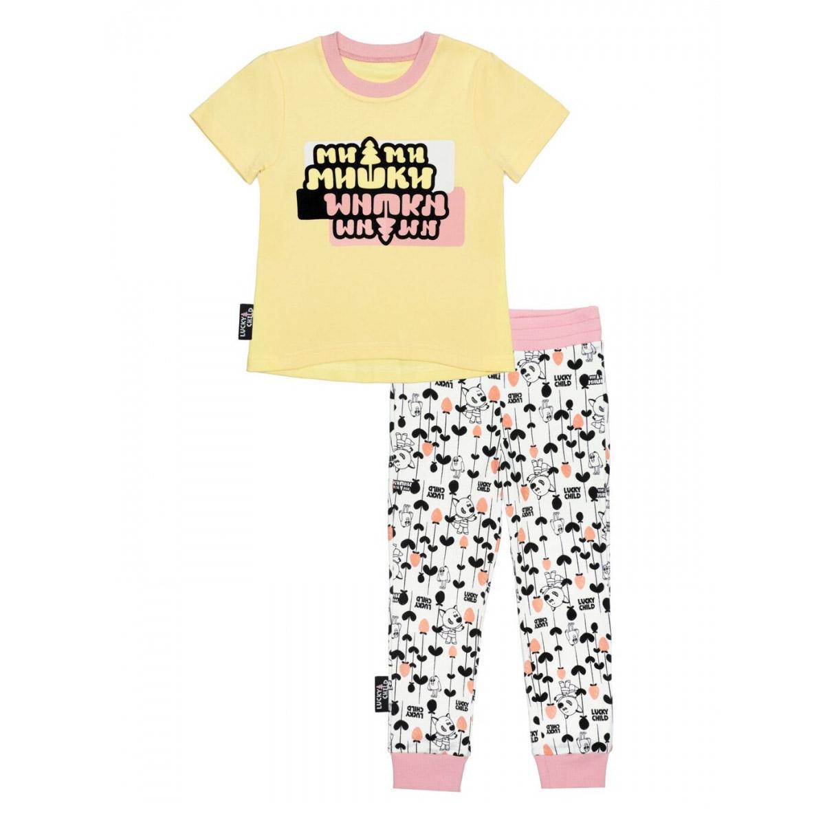 Пижама с брюками Lucky Child МИ-МИ-МИШКИ желтая 104-110 фото